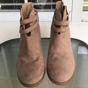 LBN Light Tan Strappy Booties Worn Once